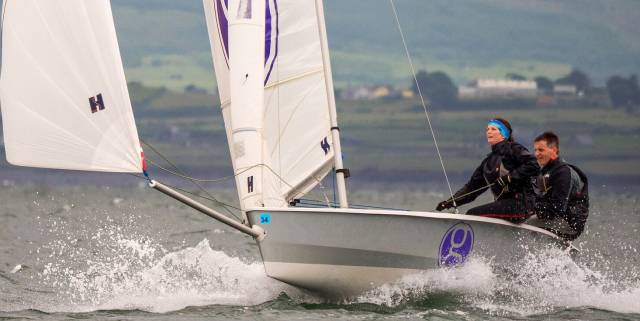 Dun Laoghaire's Owen and Gina Laverty racing in the RS400 in Sligo