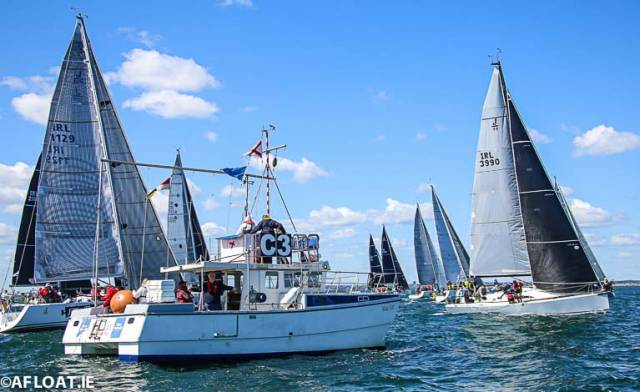 Andrew Algeo's new J99 Juggerknot II from the Royal Irish Yacht Club starts well on port tack in today's DBSC Cruisers One race