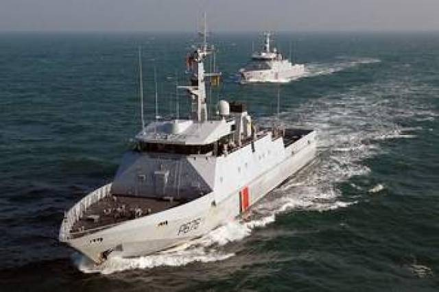 PSP Le Flamant, a French Navy offshore patrol vessel which is on a visit to Dublin for the St. Patrick's Day Festival