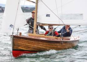 Sam Shiels sailing 'Helen' from Skerries Sailing Club is currently 9th at Dun Laoghaire Regatta