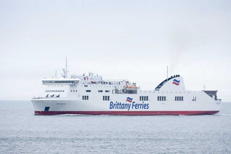 Hauliers say French travel ban exposes lack of capacity on direct ferries to mainland EU. Above adds Afloat is Brittany Ferries ro-ro freight-orientated passenger ferry (ropax) Connamara which is berthed today in Rosslare Europort operating albeit the routine service to Spain via Bilbao.