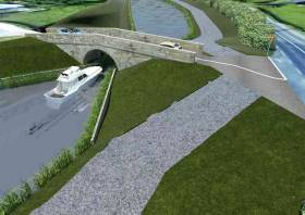 Artists impression of the Ulster Canal from Clones to Lough Erne at Teehill bridge
