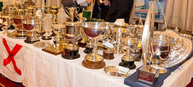 DBSC's impressive Trophy Table at the Royal St. George YC. Scroll down for prizewinners photo gallery below
