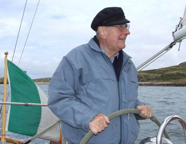 The late Otto Glaser at the helm of his ketch Tritsch-Tratsch IV on a winter Sunday morning in 2011