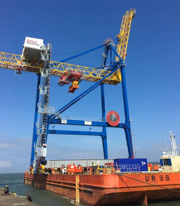 Manufactured by Liebherr in Co. Kerry, the crane was delivered to Belfast Harbour's D1 site (in Co. Down) in March. After a 12-week construction period, it was moved across the Victoria Channel by barge to VT3 (in Co. Antrim) in a complex 15-hour operation last weekend