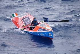 Damian Browne rowing the Atlantic.