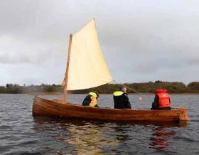 A Lough Ree lakeboat, restored by Ballyleague Men's Shed, has been fitted with a traditional sprit-sail as once used by the lake's shore and island people.