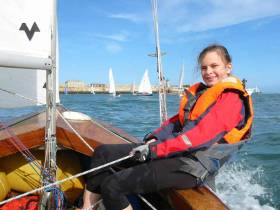 Eimear Fleming, marking a fourth generation of IDRA14 sailors. Her great grandfather, Charlie Sargent, was involved in the formation of the Irish Dinghy Racing Association, now Irish Sailing, her grandfather, Charles Sargent, current Commodore of the IDRA14 class, and her mother,Vanya Sargent, a regular crew on IDRA14s
