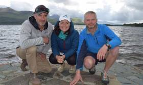 Damian Foxall (left) with marine biologists Lucy Hunt and Niall McAllister
