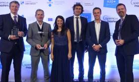 Pictured at the European Satellite Navigation Awards in Estonia are (l-r) Matthew Kelly, CTO, DroneSAR; Leo Murray, R&D, DroneSAR; Kathryn lenvain, Head of competitions and events, AZO;  Andreas Veispak, Head of Space data/Copernicus at European Commission; Oisin McGrath, CEO, DroneSAR; Bruce Hannah, CTO, National Space Centre Ltd