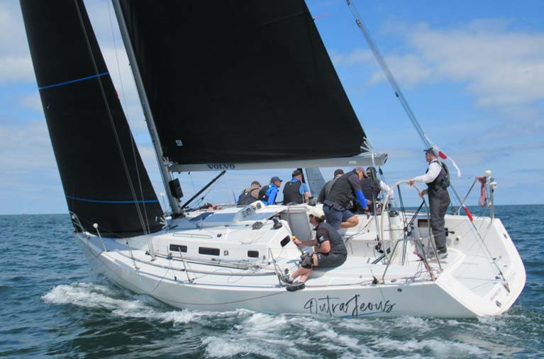The J109 Outrajeous with UK Sails on Dublin Bay