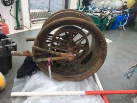 The Lusitania's main telegraph was recovered in a supervised dive off Kinsale on 25 July 2017