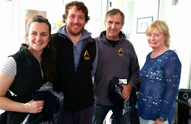 Rush Regatta Winners - 119, Three Chevrons from Foynes Yacht Club helmed by Vincent Mc Cormack with crew Roisin Mc Cormack and Michael Lynch pictured here with Brenda McGuinness, Commodore at Rush Sailing Club