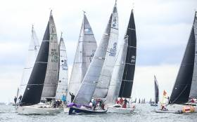 Class One competitors jostle for position at the favoured pin end of today's coastal race of the Volvo Dun Laoghaire Regatta