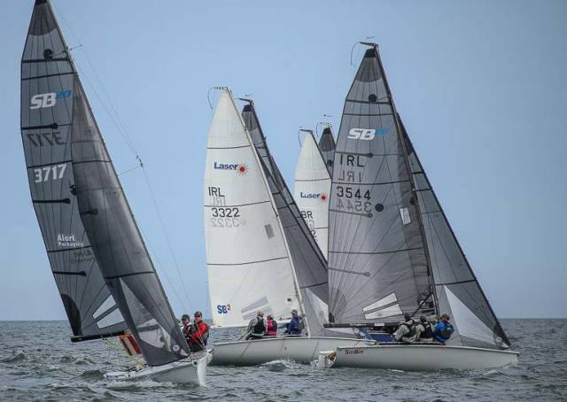 SB20s racing on Dublin Bay. The European Championships will be staged by the Royal Irish Yacht Club from Tuesday 28th August to Saturday 1st September