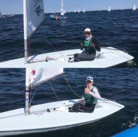 Dublin Bay sailors Clare Gorman NYC (top) and Tom Higgins RStGYC celebrate following their top threes scores yesterday at the Laser Radial Youth Worlds