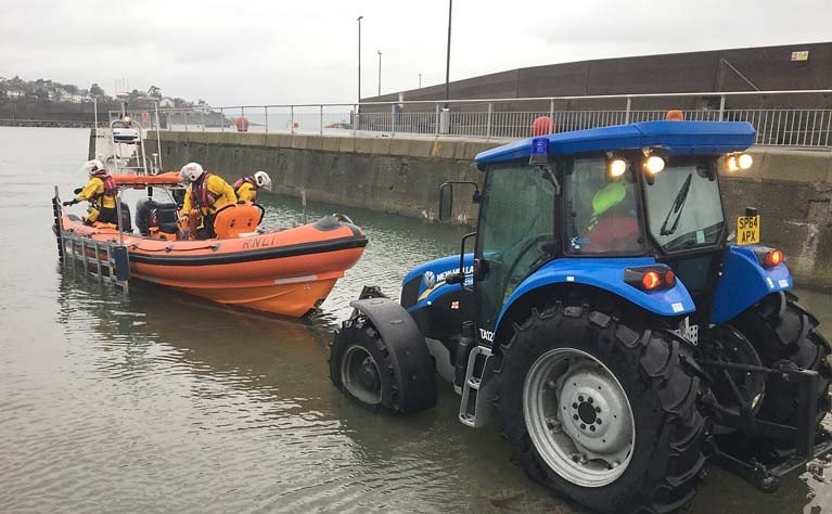 Bangor lifeboat launching on the Bangor Town slipway that is now closed to all except the lifeboat