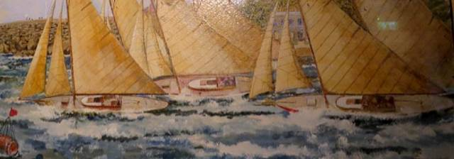 Yachts racing off Dun Laoghaire by John Ryan. The maritime painting hangs in the National Yacht Club on Dublin Bay
