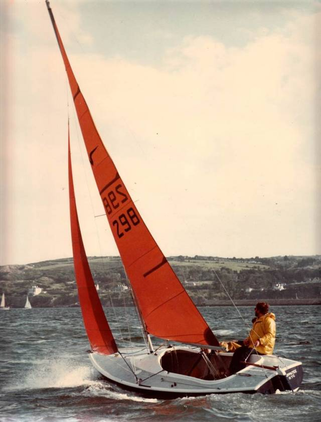 Headsail trim on the Nixon Squib in the good old days of forty years ago, with taut forestays and wide slots…