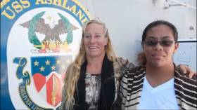 Jennifer Appel and Tasha Fuiaba were picked up by the US Navy last Wednesday many thousands of miles off their purported course
