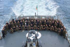 "Naval and army personnel on board the helideck of flagship L.E Eithne. A recent report commissioned by the Defence Forces found it is now at a ""critical point"" with staff numbers well below the target of 9,500."