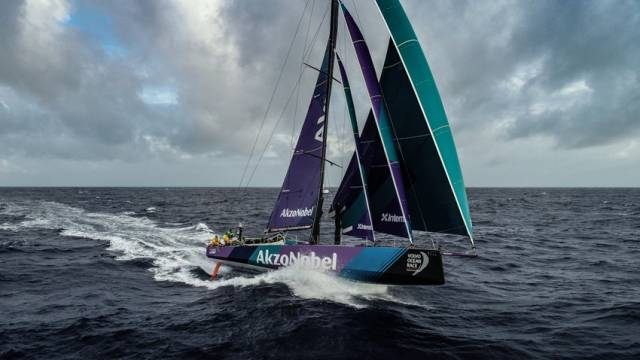 Day 3 of Leg 9 on board Team AkzoNobel, surfing the waves and flying along at 25 knots as one of the southern group in the split fleet
