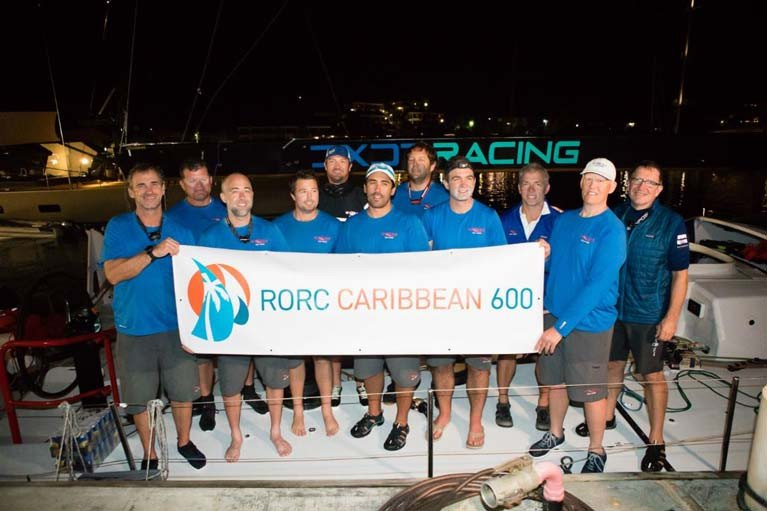 Team Wizard dockside after taking Monohull Line Honours in the 2020 RORC Caribbean 600  Team Wizard: Peter Askew, Chris Maxted, Richard Clarke, Charlie Enright, Joseph Fanelli, Robert Greenhalgh, Phillip Harmer, Robbie Kane, William Oxley, Mark Towill