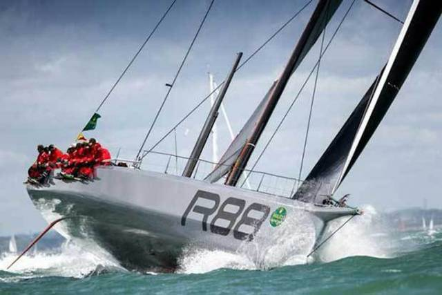 George David's Rambler 88 powering down the Solent after Sunday's Rolex Fastnet Race 2017 start - it's possible that she'll be finished at Plymouth by midnight tonight. In addition to mono-hull line honours, Rambler is also well place to win IRC Overall