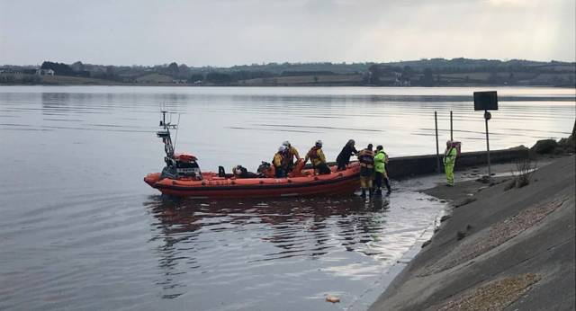The woman and her dog were safely transferred to shore by the Portaferry RNLI volunteers