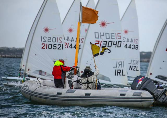 54 Laser dinghies across three divisions will contest Sunday's DMYC Frostbites Series