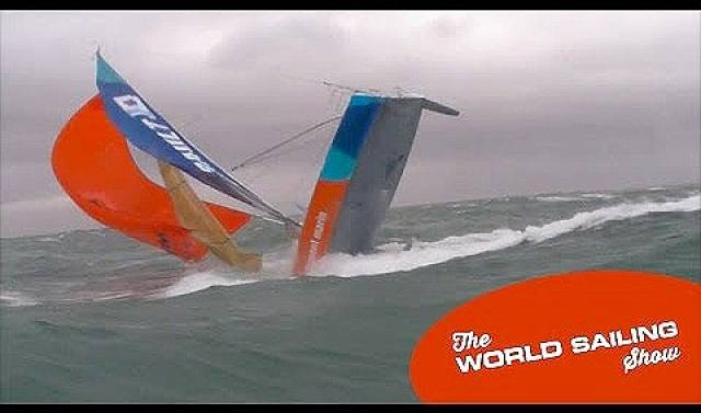 A Figaro double–hander ploughs into waves – Scroll down for the video below