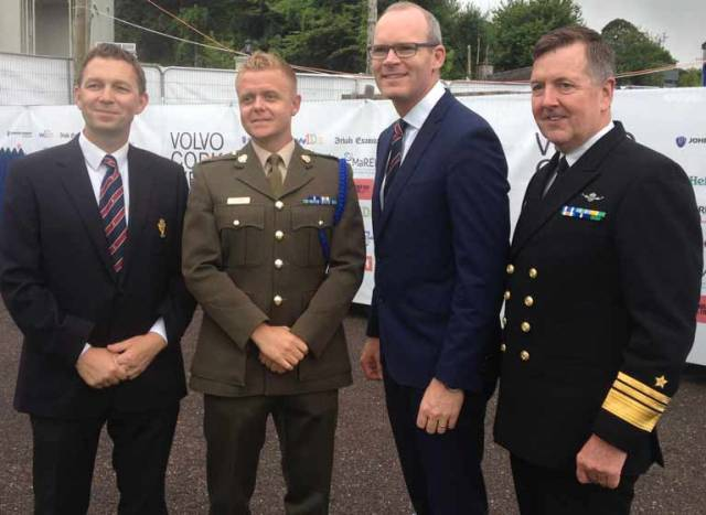 Top Brass at Crosshaven – at today's Volvo Cork Week launch were (from left) Royal Cork CEO Gavin Deane, Commandant Barry Byrne, the defending champion of the Beaufort Cup for Defence Services personnel that runs as part of Cork Week with Tánaiste and Minister for Foreign Affairs and Trade, Simon Coveney TD and Irish Naval Service Vice Admiral and the current Chief of Staff of the Defence Forces Mark Mellett