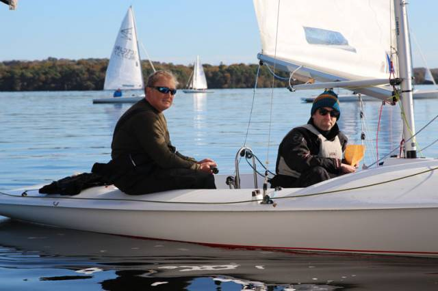 Overall winners Rory Martin and Dave Muckilveen wait for the breeze on Lough Derg