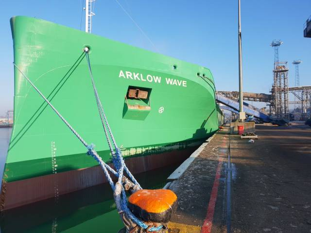 The straight stemmed bow of the newest merchant ship under the Irish flag, Arklow Wave is seen docked in the UK at the Port of Ipswich, East Anglia prior to discharging wheat in Belfast Harbour.
