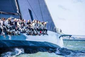 Hoping to set a new monohull race record in the RORC Transatlantic Race. Mike Slade's Maxi 100, Leopard