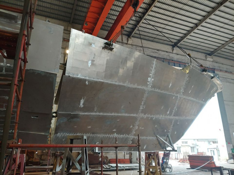 AFLOAT adds this photo reveals the bow section of the newbuild 400 passenger capacity ferry which has yet to be connected to the hull.