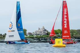 Home team Vestas 11th Hour Racing getting in some practice with In-Port Race Series leaders MAPFRE in Newport on Wednesday 16 May