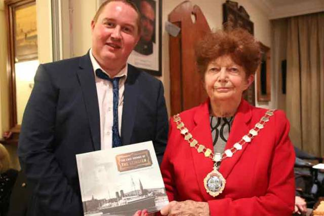 William Byrne (Chief Stokers Relative) and Holyhead Mayor Cllr Ann Kennedy at the launch of 'The Last Voyage of the Leinster'