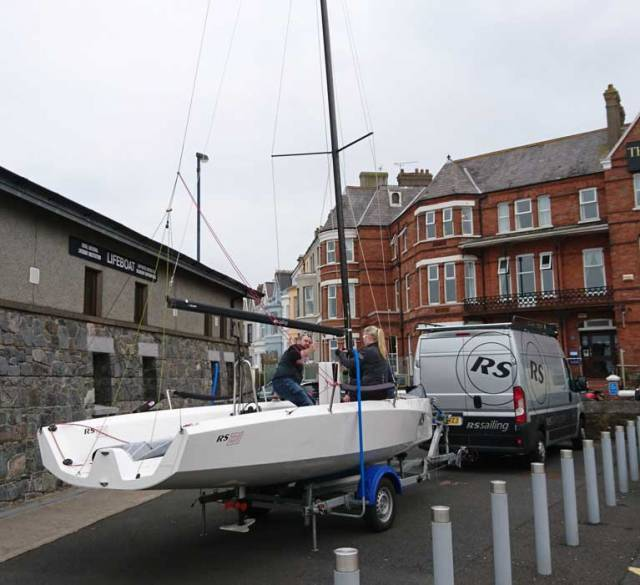 The new RS21 keelboat is prepared for launching on Belfast Lough on Sunday