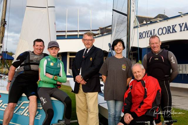 Brian Jones, RCYC Rear Admiral Dinghies pictured centre with volunteers, sailors and supporters to launch DinghyFest 2019. Pictured also Jonathan Horgan, Jonathan O'Shaughnessy, Celine McGrath (CDF Committee), Andrew Crosbie and Emmet O'Sullivan