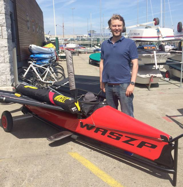 John Chambers with the new one design Waszp dinghy