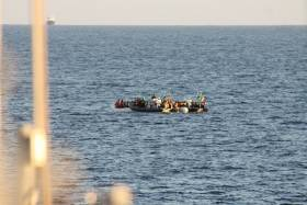 Naval Service RIBS at the scene in the Mediterranean were more than 500 migrant/refugees were rescued from rubber boats off the Libyan coast