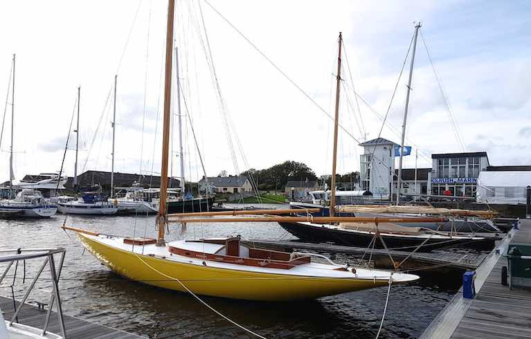 The Dublin Bay 21 Naneen of 1905 vintage (foreground) and her 1903 sister-ship Garavoge, elegantly together in Kilrush Marina