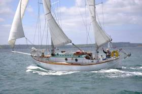 Built by the owner-skipper himself to a design by American William Atkin, the 32ft non-stop-world-girdling Suhaili was in fine form off Falmouth yesterday with Robin Knox-Johnston on the helm