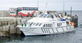Bus & Boat: The new joint ferry service involves Bus Eireann in a partnership with Doolin Ferry Company. Afloat adds the Co. Clare based operator's Doolin Express (introduced in 2017) is seen berthed alongside the quay.