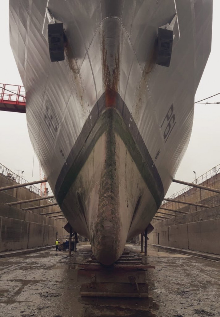A bow on view of the Naval Service's LÉ Samuel Beckett's hull (3.8m draught) as the offshore patrol vessel is currently in the graving dry-dock (165.5m) of Cork Dockyard