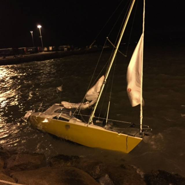 The yacht damaged by rock armour in Rosslare Harbour