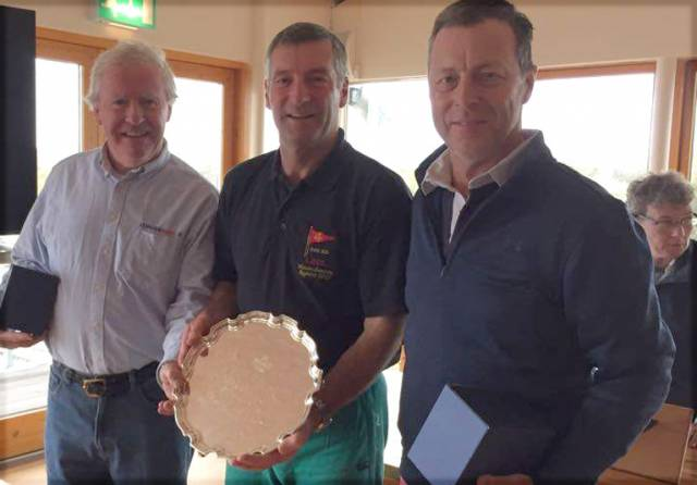 Ronan Beirne (left) with John Leech of LDYC (centre) and David Mulvin, winners of the Flying Fifteen Western Championships on Lough Derg
