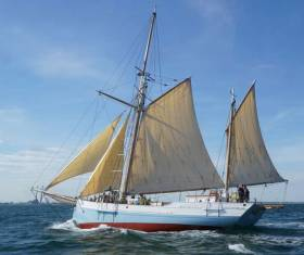 The 56ft traditional ketch Ilen of Limerick making good speed. The restored vessel - the only surviving example of an Irish trading ketch - will depart Limerick on Sunday afternoon for her multi-purpose nine weeks voyage to southwest Greenland