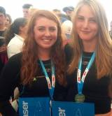 Lough Derg's Aisling Keller (left) and Aoife Hopkins at the U21 World Championship prizegiving in Belgium